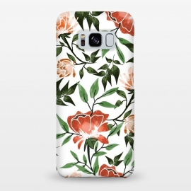 Galaxy S8+  Floral Feels by Uma Prabhakar Gokhale (graphic design, pattern, watercolor, floral, nature, botanical, summer, spring, exotic, blossom, bloom, flourish, green, blush, orange)