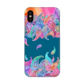 iPhone X  Rainbow Paisley Rain on Blue by Micklyn Le Feuvre