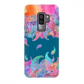 Galaxy S9+  Rainbow Paisley Rain on Blue by Micklyn Le Feuvre