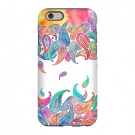 iPhone 6/6s  Rainbow Paisley Rain on White by Micklyn Le Feuvre
