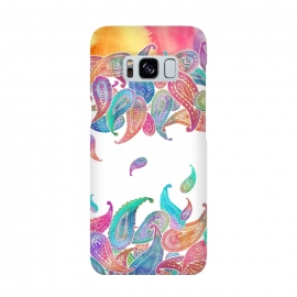 Rainbow Paisley Rain on White by Micklyn Le Feuvre
