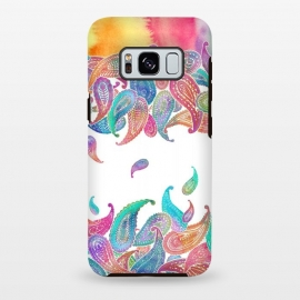 Rainbow Paisley Rain on White by Micklyn Le Feuvre (paisley, patterns,micklyn,rainbow,pastel,colorful,boho,bohemian,hippy,seventies,watercolor,watercolour,painting,paint)