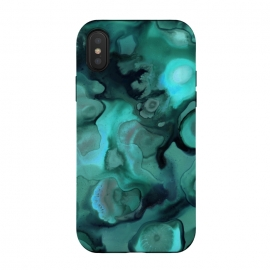 iPhone Xs / X  Ebb and Flow in Emerald by Micklyn Le Feuvre (emerald,alcohol ink,abstract,malachite,green,texture,organic,shapes,paint,flow,fluid,pour,acrylic,micklyn,marbling)