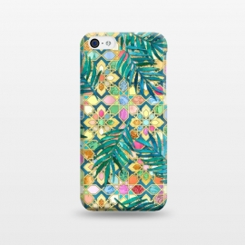 iPhone 5C  Gilded Moroccan Mosaic Tiles with Palm Leaves by Micklyn Le Feuvre
