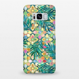 Galaxy S8+  Gilded Moroccan Mosaic Tiles with Palm Leaves by Micklyn Le Feuvre