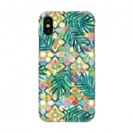 iPhone X  Gilded Moroccan Mosaic Tiles with Palm Leaves by
