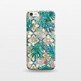 iPhone 5C  Muted Moroccan Mosaic Tiles with Palm Leaves by Micklyn Le Feuvre