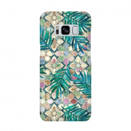 Galaxy S8  Muted Moroccan Mosaic Tiles with Palm Leaves by Micklyn Le Feuvre