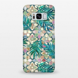 Galaxy S8+  Muted Moroccan Mosaic Tiles with Palm Leaves by Micklyn Le Feuvre