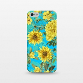 iPhone 5/5E/5s  Sunflowers and Yellow Roses on Teal Pattern by Utart