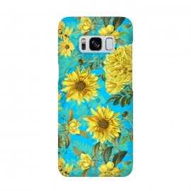 Galaxy S8  Sunflowers and Yellow Roses on Teal Pattern by Utart