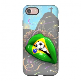 iPhone 8/7   Brazil Flag Lipstick Soccer Supporters on Sensual Woman's Lips by BluedarkArt