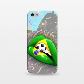 iPhone 5/5E/5s   Brazil Flag Lipstick Soccer Supporters on Sensual Woman's Lips by BluedarkArt
