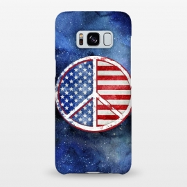 Galaxy S8+  Peace Sign Stars and Stripes USA Flag by Andrea Haase
