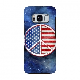 Galaxy S8  Peace Sign Stars and Stripes USA Flag by Andrea Haase