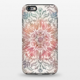 iPhone 6/6s plus  Autumn Spice Mandala in Coral and Cream by Micklyn Le Feuvre (mandala,pencil,drawing,micklyn,feathers,leaves,peach,coral,cream,detail,floral,lotus,boho,bohemian,hippy,chic)