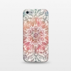 iPhone 5/5E/5s  Autumn Spice Mandala in Coral and Cream by Micklyn Le Feuvre (mandala,pencil,drawing,micklyn,feathers,leaves,peach,coral,cream,detail,floral,lotus,boho,bohemian,hippy,chic)