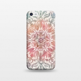 iPhone 5C  Autumn Spice Mandala in Coral and Cream by Micklyn Le Feuvre (mandala,pencil,drawing,micklyn,feathers,leaves,peach,coral,cream,detail,floral,lotus,boho,bohemian,hippy,chic)