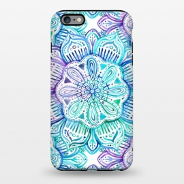 iPhone 6/6s plus  Iridescent Aqua and Purple Watercolor Mandala by Micklyn Le Feuvre (watercolor,painting,painted,mandala,medallion,micklyn,boho,bohemian,aqua,turquoise,emerald,flower,hand painted)