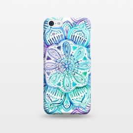 iPhone 5C  Iridescent Aqua and Purple Watercolor Mandala by Micklyn Le Feuvre (watercolor,painting,painted,mandala,medallion,micklyn,boho,bohemian,aqua,turquoise,emerald,flower,hand painted)