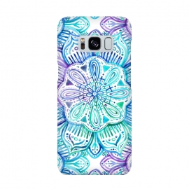 Galaxy S8  Iridescent Aqua and Purple Watercolor Mandala by Micklyn Le Feuvre