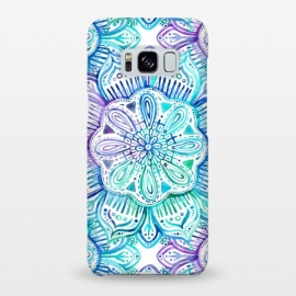 Galaxy S8+  Iridescent Aqua and Purple Watercolor Mandala by Micklyn Le Feuvre (watercolor,painting,painted,mandala,medallion,micklyn,boho,bohemian,aqua,turquoise,emerald,flower,hand painted)