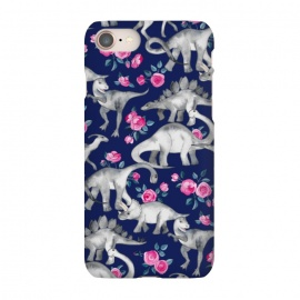 iPhone 8/7  Dinosaurs and Roses on Dark Blue Purple by Micklyn Le Feuvre (dinos,dinosaur,roses,floral,watercolor,drawing,hand drawn,painted,micklyn,cute,dinosaurs)