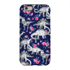 iPhone 6/6s  Dinosaurs and Roses on Dark Blue Purple by Micklyn Le Feuvre