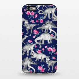 iPhone 6/6s plus  Dinosaurs and Roses on Dark Blue Purple by Micklyn Le Feuvre (dinos,dinosaur,roses,floral,watercolor,drawing,hand drawn,painted,micklyn,cute,dinosaurs)