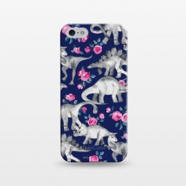 iPhone 5/5E/5s  Dinosaurs and Roses on Dark Blue Purple by Micklyn Le Feuvre