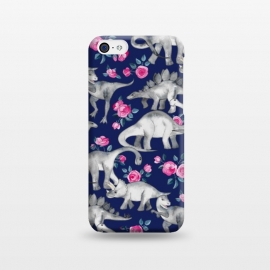 iPhone 5C  Dinosaurs and Roses on Dark Blue Purple by Micklyn Le Feuvre (dinos,dinosaur,roses,floral,watercolor,drawing,hand drawn,painted,micklyn,cute,dinosaurs)