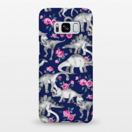 Galaxy S8+  Dinosaurs and Roses on Dark Blue Purple by Micklyn Le Feuvre (dinos,dinosaur,roses,floral,watercolor,drawing,hand drawn,painted,micklyn,cute,dinosaurs)