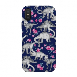 iPhone Xs / X  Dinosaurs and Roses on Dark Blue Purple by