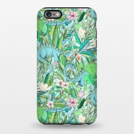 iPhone 6/6s plus  Summer Floral with Dinosaurs by Micklyn Le Feuvre (botanical,painting,dinos,dinosaur,dinosaurs,micklyn,flowers,jungle,tropical,summer,lotus,flower,leaves,leaf,pattern,drawing,illustration)