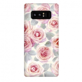 Galaxy Note 8  Painted Pink and Mauve Roses by  (rose,flowers,micklyn,painted,retro,mauve,lilac,textile,roses,painting,acrylic,botanical)