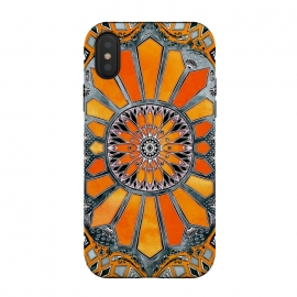 iPhone Xs / X  Celebrating the Seventies by Micklyn Le Feuvre (orange,watercolor,hand drawn, pencil, paint,painting,medallion,mandala,texture,micklyn,seventies,sixties,retro,circle,bright,colorful,tangerine)