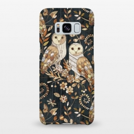 Galaxy S8+  Wooden Wonderland Barn Owl Collage by Micklyn Le Feuvre (owls, bird, birds, collage,wood,wooden,nature,micklyn,flowers,leaves,leaf,patterns,grain,textures,texture,barn owls)