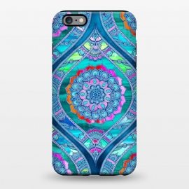 iPhone 6/6s plus  Radiant Boho Color Play Mandala by Micklyn Le Feuvre (watercolor,textures,mandala,boho,bohemian,micklyn,rainbow,bright,colorful,trendy,popular,blues,glowing,flower,floral)