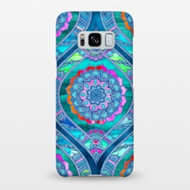 Galaxy S8+  Radiant Boho Color Play Mandala by Micklyn Le Feuvre (watercolor,textures,mandala,boho,bohemian,micklyn,rainbow,bright,colorful,trendy,popular,blues,glowing,flower,floral)