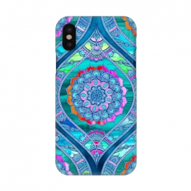 iPhone X  Radiant Boho Color Play Mandala by Micklyn Le Feuvre (watercolor,textures,mandala,boho,bohemian,micklyn,rainbow,bright,colorful,trendy,popular,blues,glowing,flower,floral)