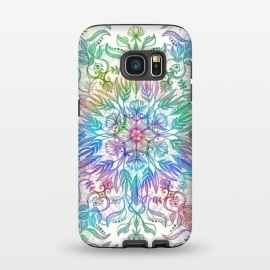 Galaxy S7  Nature Mandala in Rainbow Hues by Micklyn Le Feuvre (rainbow, mandala,colorful,medallion,leaves,feathers,flowers,lotus,boho,bohemian,micklyn,cream,trendy,detail,doodle)