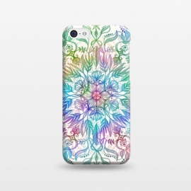 iPhone 5C  Nature Mandala in Rainbow Hues by Micklyn Le Feuvre (rainbow, mandala,colorful,medallion,leaves,feathers,flowers,lotus,boho,bohemian,micklyn,cream,trendy,detail,doodle)
