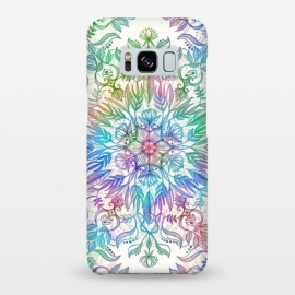 Galaxy S8+  Nature Mandala in Rainbow Hues by Micklyn Le Feuvre (rainbow, mandala,colorful,medallion,leaves,feathers,flowers,lotus,boho,bohemian,micklyn,cream,trendy,detail,doodle)