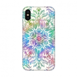 iPhone X  Nature Mandala in Rainbow Hues by Micklyn Le Feuvre (rainbow, mandala,colorful,medallion,leaves,feathers,flowers,lotus,boho,bohemian,micklyn,cream,trendy,detail,doodle)