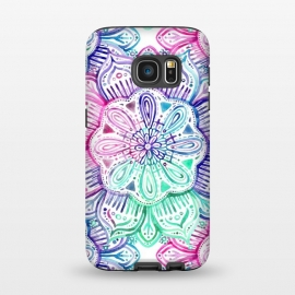Galaxy S7  Watercolor Mandala in Mint, Magenta and Purple by Micklyn Le Feuvre