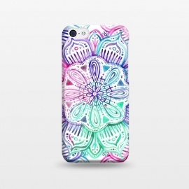 iPhone 5C  Watercolor Mandala in Mint, Magenta and Purple by Micklyn Le Feuvre (watercolor, mandala,medallion,micklyn,rainbow,pastels,colorful,purple,mint green,magenta,flower,boho,bohemian,girly,painted,hand)
