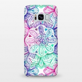 Galaxy S8+  Watercolor Mandala in Mint, Magenta and Purple by Micklyn Le Feuvre