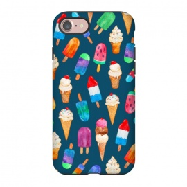 iPhone 8/7  Summer Pops and Ice Cream Dreams on Dark Blue by Micklyn Le Feuvre