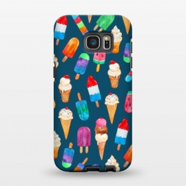 Galaxy S7 EDGE  Summer Pops and Ice Cream Dreams on Dark Blue by Micklyn Le Feuvre