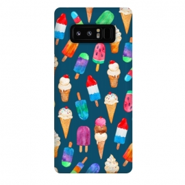 Galaxy Note 8  Summer Pops and Ice Cream Dreams on Dark Blue by Micklyn Le Feuvre